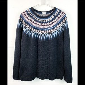 J. Jill sweater fair isle gray M crew neck